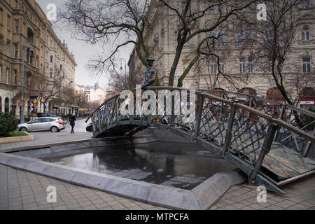 Budapest Hungary, 7th February 2018. The Imre Nagy Statue which faces the Hungarian Parliament in Budapest and is a symbol of freedom - Stock Photo