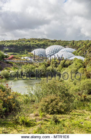 View over the Eden Project compound in Cornwall, England, UK - Stock Photo