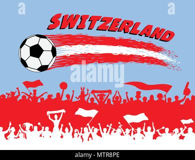 Switzerland flag colors with soccer ball and Swiss supporters silhouettes. All the objects, brush strokes and silhouettes are in different layers and  - Stock Photo