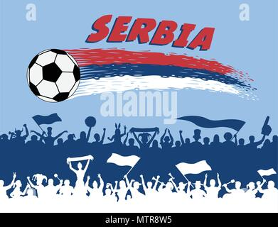 Serbia flag colors with soccer ball and Serbian supporters silhouettes. All the objects, brush strokes and silhouettes are in different layers and the - Stock Photo