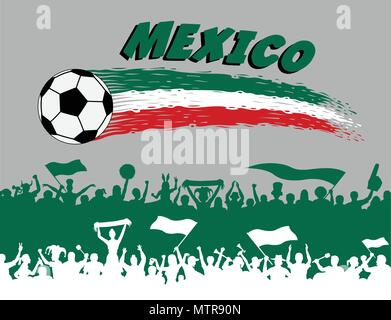 Mexico flag colors with soccer ball and Mexican supporters silhouettes. All the objects, brush strokes and silhouettes are in different layers and the - Stock Photo