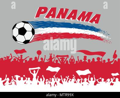 Panama flag colors with soccer ball and Panamanian supporters silhouettes. All the objects, brush strokes and silhouettes are in different layers and  - Stock Photo