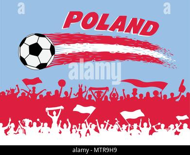 Poland flag colors with soccer ball and Polish supporters silhouettes. All the objects, brush strokes and silhouettes are in different layers and the  - Stock Photo