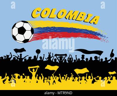 Colombia flag colors with soccer ball and Colombian supporters silhouettes. All the objects, brush strokes and silhouettes are in different layers and - Stock Photo