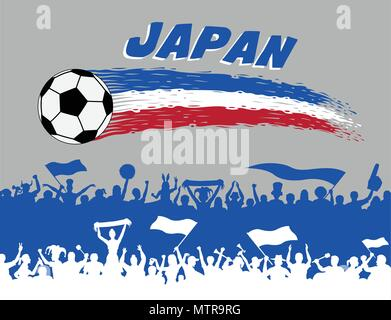 Japan flag colors with soccer ball and Japanese supporters silhouettes. All the objects, brush strokes and silhouettes are in different layers and the - Stock Photo