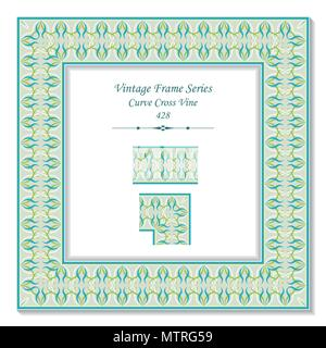 Vintage square 3D frame curve cross vine, retro style template ideal for invitation or greeting card design. - Stock Photo