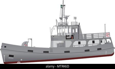 A detailed illustration of a Navy Support Ship equipped for diving and salvage with grey livery and red oxide boot topping and an array of radar - Stock Photo