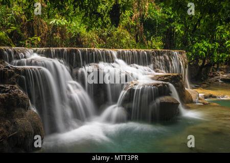 Kuang Si waterfall in Laos - Stock Photo
