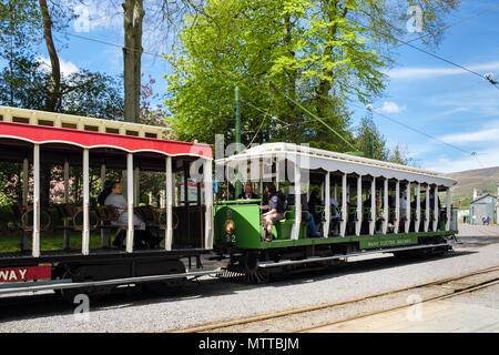 Manx Electric Railway train carriages leaving station in Laxey, Isle of Man, British Isles - Stock Photo