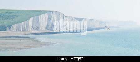Seven Sisters on a misty morning in May, East Sussex,England, United Kingdom - Stock Photo