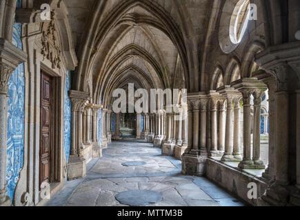 Cloisters in Porto Cathedral ( Se do Porto ), Porto, Portugal - Stock Photo