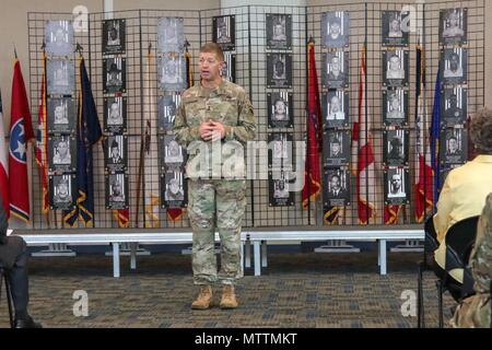 CLAY NATIONAL GUARD CENTER, Marietta, Ga., May 25, 2018 - The Adjutant General of Georgia, Brig. Gen. Joe J. Jarrard, provided opening comments during the 2018 Memorial Day Observance at Joint Force Headquarters.  The ceremony honors the 42 Georgia Guardsmen who have made the ultimate sacrifice while conducting military operations.    Georgia Army National Guard photo by Staff Sgt. R. J. Lannom Jr. - Stock Photo