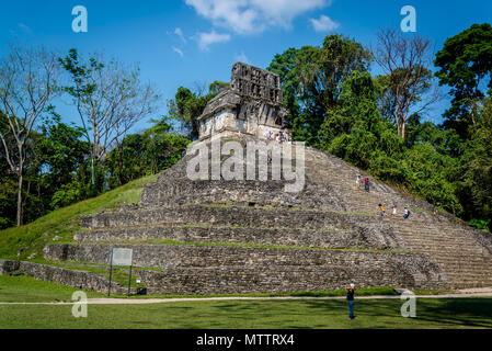 Palenque, Temple of the Sun, Temple of the Cross Complex, ruins of Maya city in southern Mexico, Chiapas, Mexico - Stock Photo
