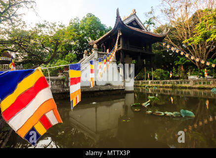 The One Pillar Pagoda (Chua Mot Cot) is the historic, most iconic Buddhist temple in Hanoi, Vietnam - Stock Photo