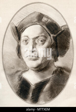 Christopher Columbus, 1451 – 1506.  Italian explorer, navigator and colonizer.  Illustration by Gordon Ross, American artist and illustrator (1873-1946), from Living Biographies of Famous Men. - Stock Photo