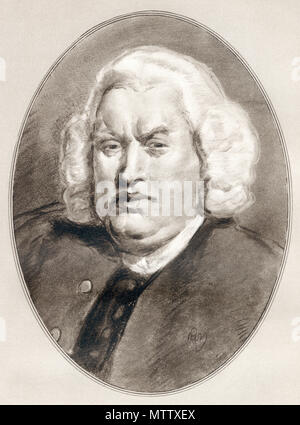 Samuel Johnson, 1709 - 1784, aka Dr. Johnson.  English writer, poet, essayist, moralist, literary critic, biographer, editor and lexicographer.  Illustration by Gordon Ross, American artist and illustrator (1873-1946), from Living Biographies of Famous Men. - Stock Photo