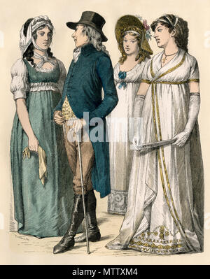 Berliners of the 1790s. Hand-colored print - Stock Photo