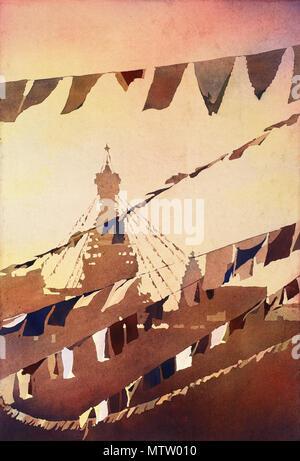 Prayer flags at Buddhist stupa of Swayambhunath in the Kathmandu Valley- Nepal - Stock Photo