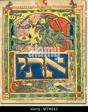 . English: Illustration from the Tripartite Mahzor (MS A 384). circa 1320. Unknown 293 Illustration-tripartite-mahzor-knights - Stock Photo