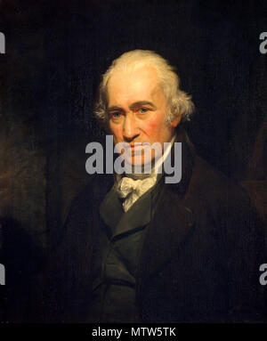 James Watt (1736 – 1819) Scottish inventor, mechanical engineer, invented the Watt steam engine in 1781. Painting of James Watt by John Partridge, after Sir William Beechey - Stock Photo