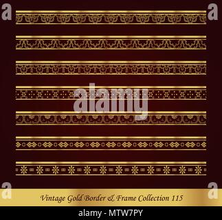 Vintage Luxury Gold Border Frame Vector Collection - Stock Photo