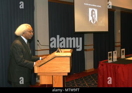 Dr. Floyd Rose of Madison, Wis., gives his presentation during the Fort McCoy observance of Martin Luther King Jr. Day on Jan 12, 2017, at McCoy's Community Center. Rose is a businessman who's worked for more than 40 years to evaluate, analyze, and develop policy for private- and public-sector organizations concerning sales growth, procurement practices, human-resource management, and policy. He holds leadership positions in multiple organizations, including the Wisconsin Diversity Procurement Network and 100 Black Men of America Inc. (Madison Chapter). (U.S. Army Photo by Scott T. Sturkol, Pu - Stock Photo