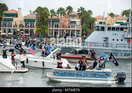 Crews from the Coast Guard, Coast Guard Auxiliary and Florida Fish and Wildlife Conservation Commission worked with local law enforcement agencies Saturday, Jan. 28, 2017 to keep waterways safe during the 2017 Gasparilla Parade and Pirate Festival in the Port of Tampa. U.S. Coast Guard Petty Officer 1st Class Michael De Nyse - Stock Photo