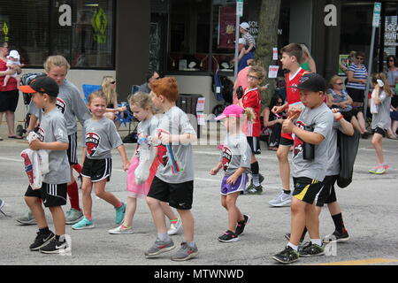 Scene from the Memorial Day Parade in small town Park Ridge, Illinois. - Stock Photo