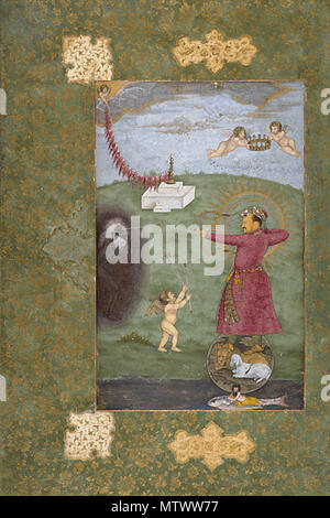 . English: Emperor Jahangir, Triumphing Over Poverty, c. 1625 . circa 1625. Unknown 432 Mughal175 - Stock Photo
