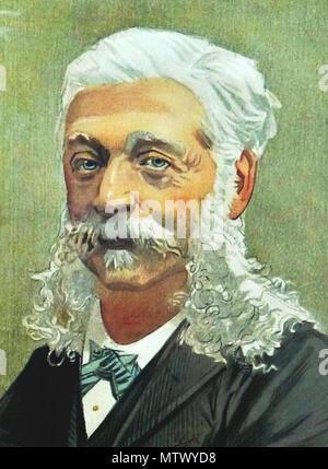 . English: Caricature of The Baron AJ de Rothschild. Caption read 'Alphonse'. 1894. Jean Baptiste Guth 529 Alphonse James de Rothschild (Portrait) - Stock Photo
