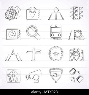 Map, navigation and Location Icons -vector icon set - Stock Photo