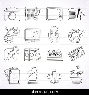 Hobbies and leisure Icons - vector icon set - Stock Photo