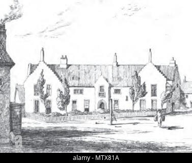. English: Illustration of Gresham's School, Holt, from John William Burgon's The Life and Times of Sir Thomas Gresham (1839) 'from a sketch made on the spot in 1838' (detail). 1839 engraving from a sketch dated 1838. Unknown 454 Old School House, Holt, 1838 - Stock Photo
