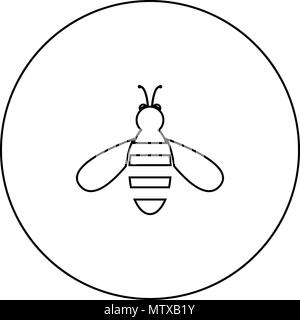 bee icon black color in circle round outline stock vector art