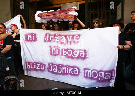 ZAGREB,CROATIA - MAY 19, 2018 : People protesting against fascism and for the abortion rights in city center in Zagreb, Croatia. - Stock Photo