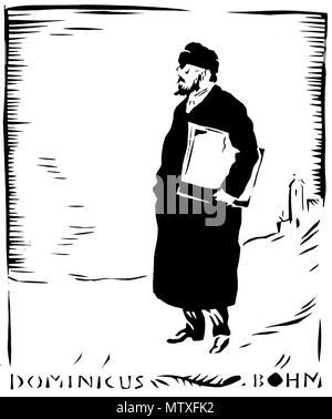 . Deutsch: Scherenschnitt des Architekten Dominikus Böhm, Künstler: Rudolf Koch . 1919. Rudolf Koch († 1934) 545 Scherenschnitt dominikus boehm by rudolf koch 1919 - Stock Photo