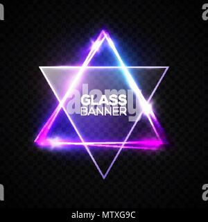 David star. Neon sign. Triangle banner with transparent glass plate. Judaism flag. Hebrew Israel glow symbol art. Electric abstract frame on transparent backdrop Religious light vector illustration. - Stock Photo