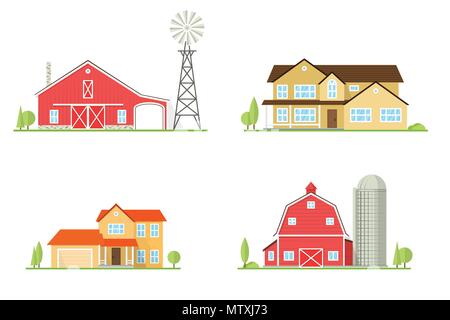 Vector flat icon suburban american house and old farm. For web design and application interface, also useful for infographics. Family farm and house i - Stock Photo