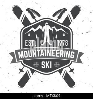 Mountaineering ski badge. Vector ski club retro badge. Concept for alpine club shirt or logo, print, stamp or tee. Vintage typography design with moun - Stock Photo