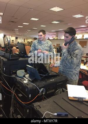 Members of the Air National Guard 242nd Combat Communications Squadron provide radio communication capabilities in support of the 2017 presidential inauguration Jan 20, 2017, at the FedEx Field in Landover, Maryland. The 242nd is based out of Fairchild Air Force Base, Washington. - Stock Photo