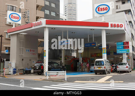 An Esso gas station in Tokyo on May 31, 2018, Japan. The average price of a liter of gasoline rose to 151 Yen (on Monday), the highest level since December 2014 according to Japan's Agency for Natural Resources and Energy. The average price topped this at 153 Yen per liter on Thursday and is expected to rise further. Credit: Rodrigo Reyes Marin/AFLO/Alamy Live News - Stock Photo
