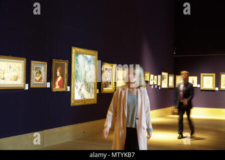 London,UK,31st May 2018,Bonhams held a photocall for the Russian Sale and Rediscovered masterpieces from the Russian Opera in New Bond Street. It was lead by an exhibition of Alexander Golovin's magnificent designs for Igor Stravinsky's Le Rossignol . Other highlights include: Siberian Sleigh Riders by Leon Gaspard. Estimated at £250,000-450,000. The sale takes place on the 6th June 2018. Credit: Keith Larby/Alamy Live News - Stock Photo