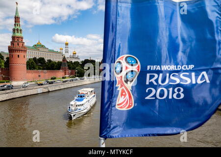 MOSCOW, RUSSIA - MAY 30, 2018: FIFA-branded banners on Moscow's Bolshoy Kamenny Bridge ahead of the 2018 FIFA World Cup. Sergei Bobylev/TASS - Stock Photo