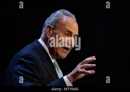 New York, USA. 30th May 2018. U.S. Senator Chuck Schumer speaks at the Hunter College commencement ceremony  on May 30, 2018 at Radio City Music Hall in New York. Credit: Erik Pendzich/Alamy Live News - Stock Photo