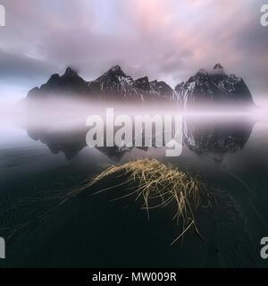 Vestrahorn mountain landscape at sunrise, Iceland - Stock Photo