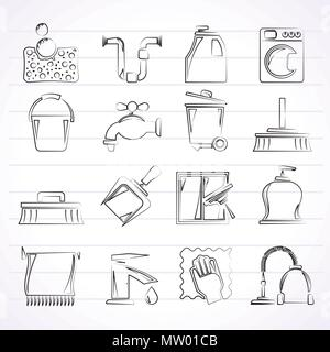 Cleaning and hygiene icons - vector icon set, Created For Print, Mobile and Web  Applications - Stock Photo