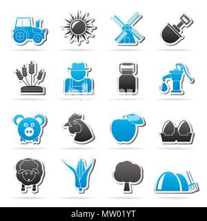 Agriculture and farming icons - vector icon set - Stock Photo