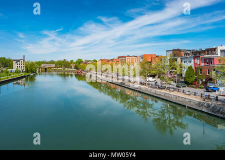 Downtown Seneca Falls and the Cayuga–Seneca Canal in New York State USA - Stock Photo