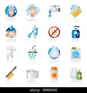 Cleaning and hygiene icons - vector icon set - Stock Photo