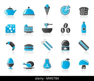 Different kind of food and drinks icons 2 - vector icon set - Stock Photo